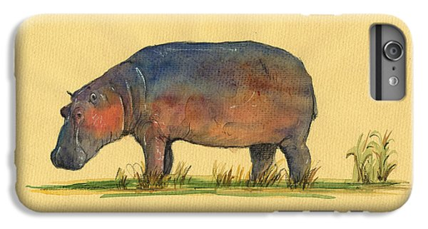 Hippo Watercolor Painting  IPhone 6s Plus Case by Juan  Bosco