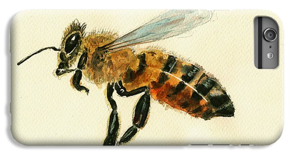 Honey Bee Watercolor Painting IPhone 6s Plus Case by Juan  Bosco