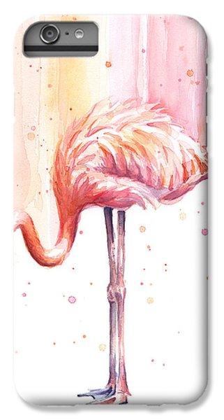 Pink Flamingo Watercolor Rain IPhone 6s Plus Case