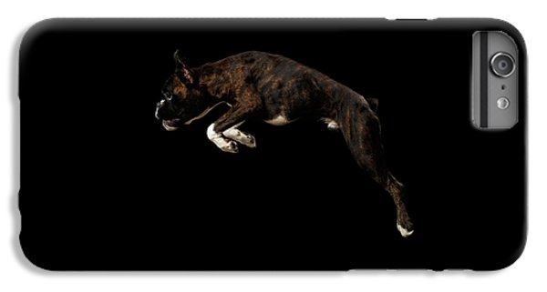 Dog iPhone 6s Plus Case - Purebred Boxer Dog Isolated On Black Background by Sergey Taran