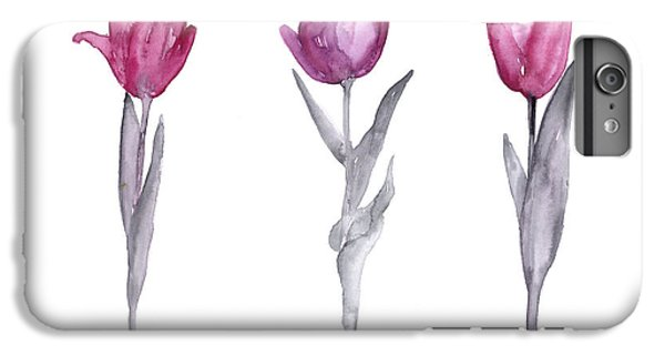 Tulip iPhone 6s Plus Case - Purple Tulips Watercolor Painting by Joanna Szmerdt