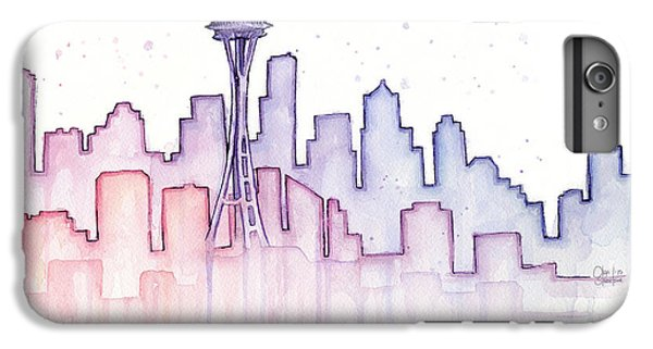Seattle Skyline Watercolor IPhone 6s Plus Case