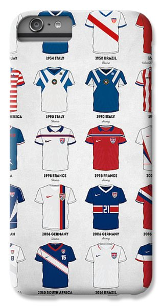 Soccer iPhone 6s Plus Case - The Evolution Of The Us World Cup Soccer Jersey by Zapista