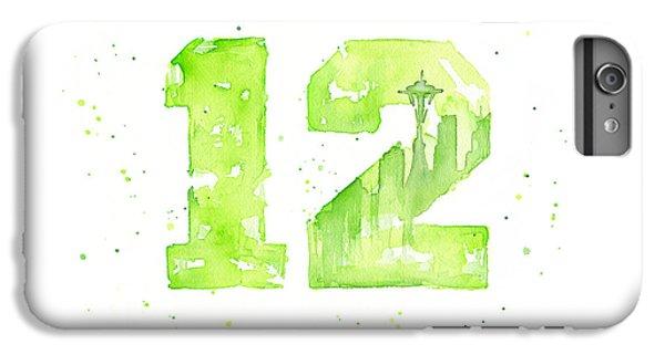 Hawk iPhone 6s Plus Case - 12th Man Seahawks Art Go Hawks by Olga Shvartsur