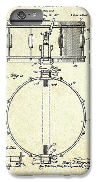 1939 Slingerland Snare Drum Patent S1 IPhone 6s Plus Case by Gary Bodnar