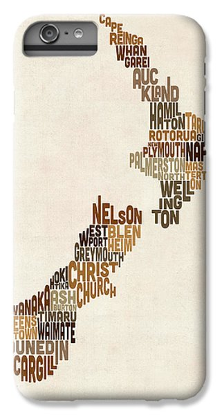 Kiwi iPhone 6s Plus Case - New Zealand Typography Text Map by Michael Tompsett