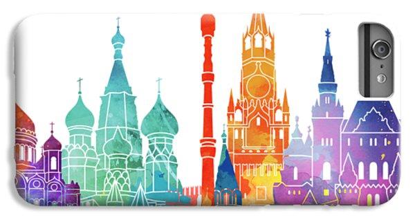 Moscow Skyline iPhone 6s Plus Case - Paris Landmarks Watercolor Poster by Pablo Romero