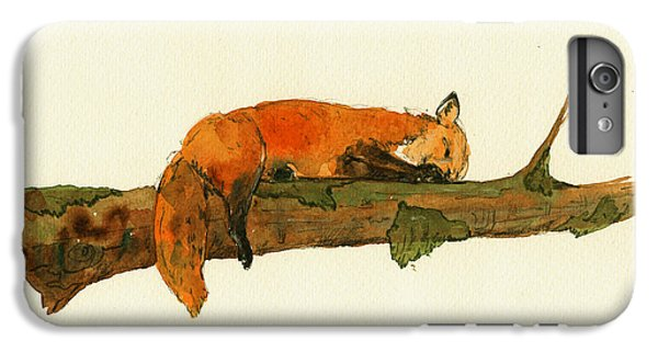 Fox Sleeping Painting IPhone 6s Plus Case by Juan  Bosco