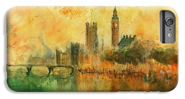 London Watercolor Painting IPhone 6s Plus Case by Juan  Bosco