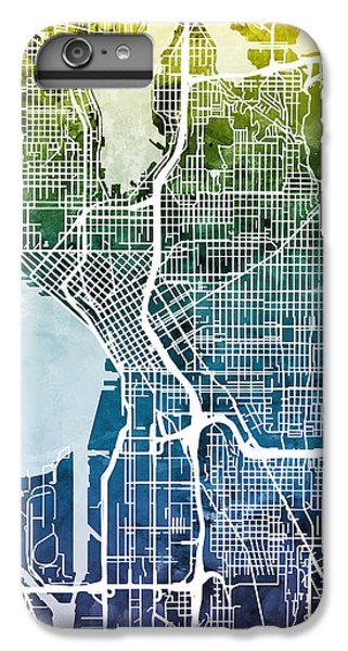 Seattle Washington Street Map IPhone 6s Plus Case by Michael Tompsett