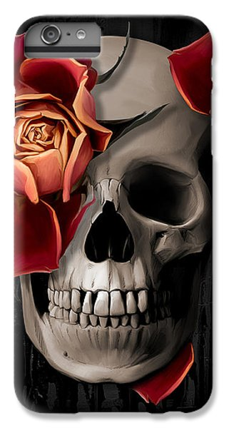 Floral iPhone 6s Plus Case - A Rose On The Skull by Canvas Cultures