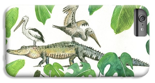 Alligator And Pelicans IPhone 6s Plus Case by Juan Bosco