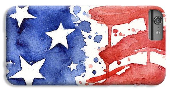 Landmarks iPhone 6s Plus Case - American Flag Watercolor Painting by Olga Shvartsur