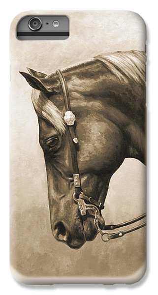 Horse iPhone 6s Plus Case - Western Horse Painting In Sepia by Crista Forest