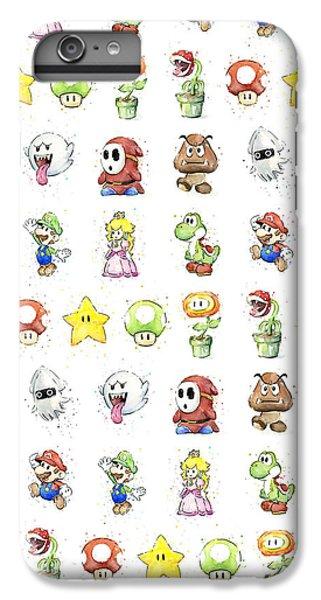Mushroom iPhone 6s Plus Case - Mario Characters In Watercolor by Olga Shvartsur