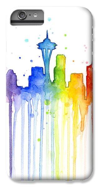 Seattle Rainbow Watercolor IPhone 6s Plus Case by Olga Shvartsur