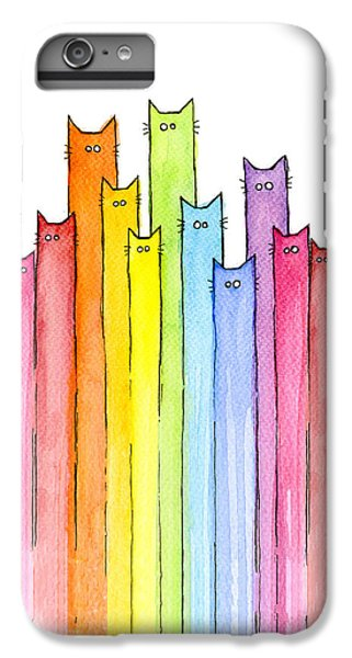 Animals iPhone 6s Plus Case - Cat Rainbow Watercolor Pattern by Olga Shvartsur