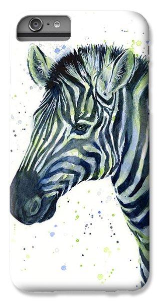 Zebra iPhone 6s Plus Case - Zebra Watercolor Blue Green  by Olga Shvartsur