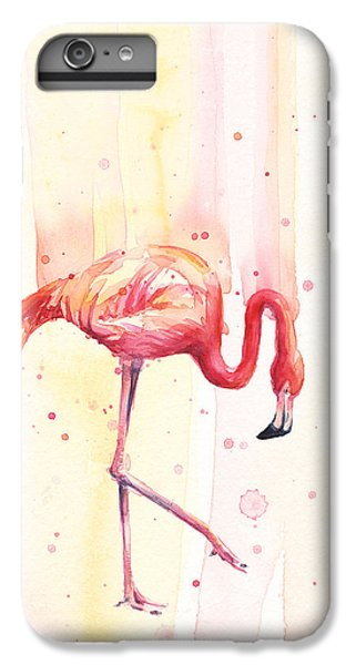 Pink Flamingo Watercolor Rain IPhone 6s Plus Case by Olga Shvartsur