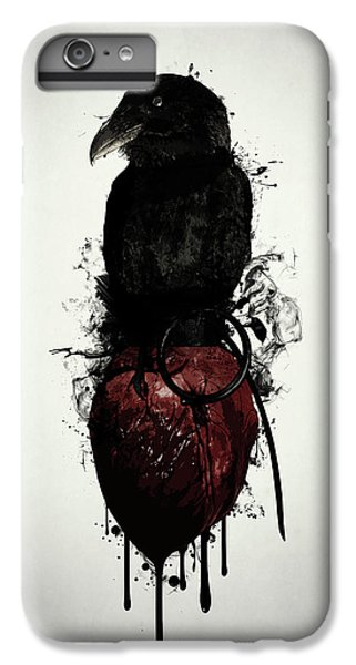 Raven iPhone 6s Plus Case - Raven And Heart Grenade by Nicklas Gustafsson