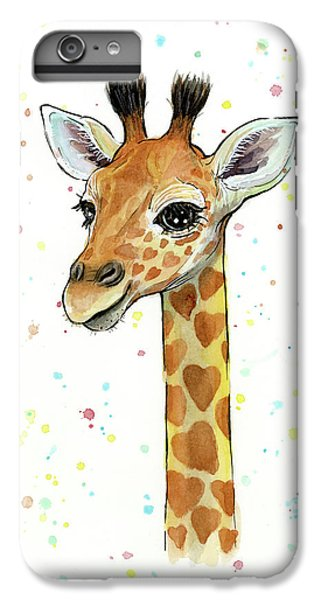 Baby Giraffe Watercolor With Heart Shaped Spots IPhone 6s Plus Case by Olga Shvartsur