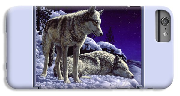 Animals iPhone 6s Plus Case - Wolf Painting - Night Watch by Crista Forest