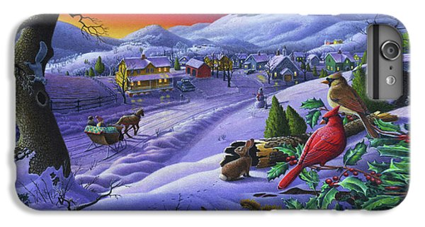 Cardinal iPhone 6s Plus Case -  Christmas Sleigh Ride Winter Landscape Oil Painting - Cardinals Country Farm - Small Town Folk Art by Walt Curlee