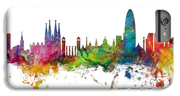 Barcelona Spain Skyline Panoramic IPhone 6s Plus Case by Michael Tompsett