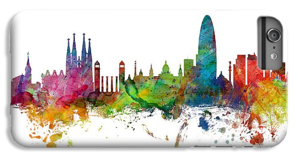Barcelona iPhone 6s Plus Case - Barcelona Spain Skyline Panoramic by Michael Tompsett