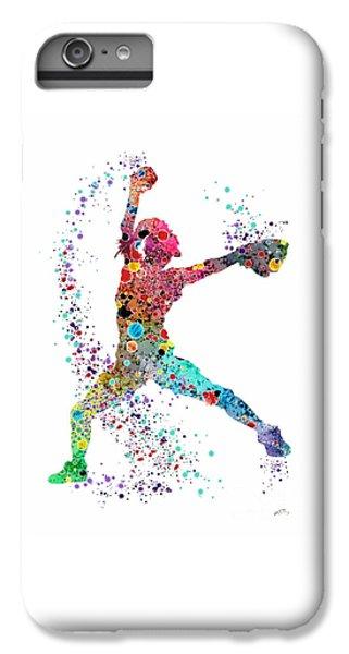Softball iPhone 6s Plus Case - Baseball Softball Pitcher Watercolor Print by Svetla Tancheva