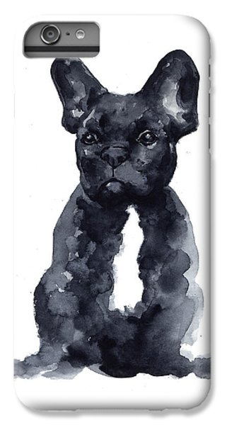 Dog iPhone 6s Plus Case - Black French Bulldog Watercolor Poster by Joanna Szmerdt