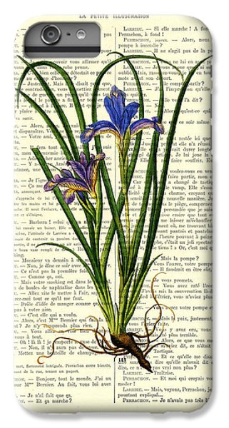 Floral iPhone 6s Plus Case - Black Iris Antique Illustration On Dictionary Page by Madame Memento
