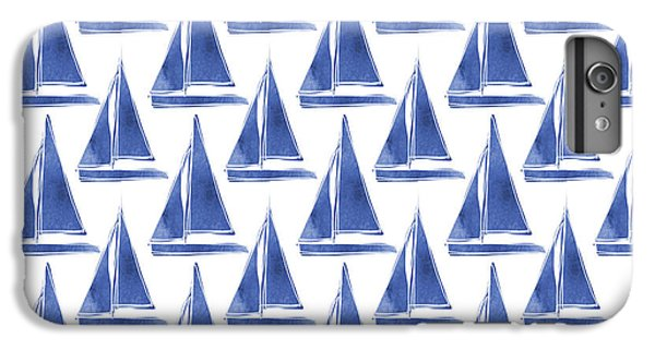 Boats iPhone 6s Plus Case - Blue And White Sailboats Pattern- Art By Linda Woods by Linda Woods