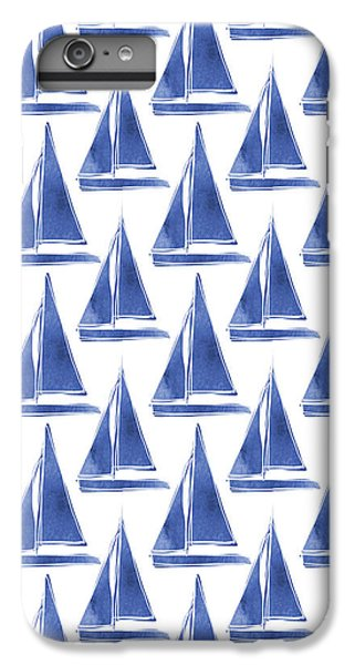 Boat iPhone 6s Plus Case - Blue And White Sailboats Pattern- Art By Linda Woods by Linda Woods