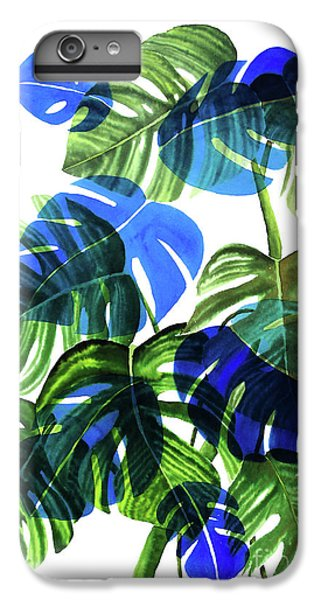 Blue Monstera IPhone 6s Plus Case by Ana Martinez