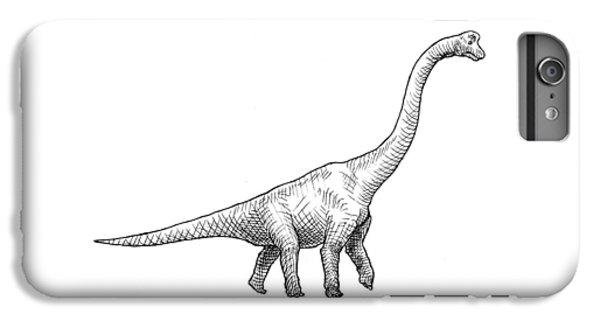 Brachiosaurus Black And White Dinosaur Drawing  IPhone 6s Plus Case by Karen Whitworth