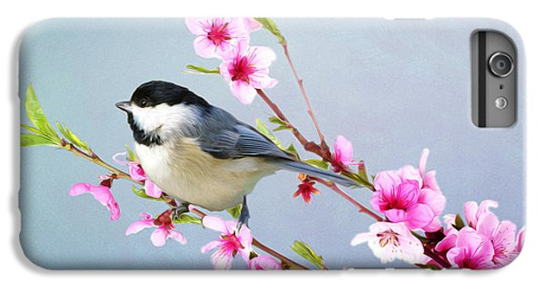 Chickadee iPhone 6s Plus Case - Carolina Chickadee And Peach Blossoms by Laura D Young
