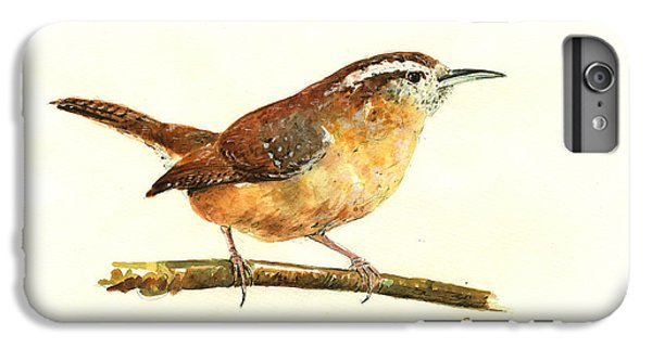 Wren iPhone 6s Plus Case - Carolina Wren Watercolor Painting by Juan  Bosco