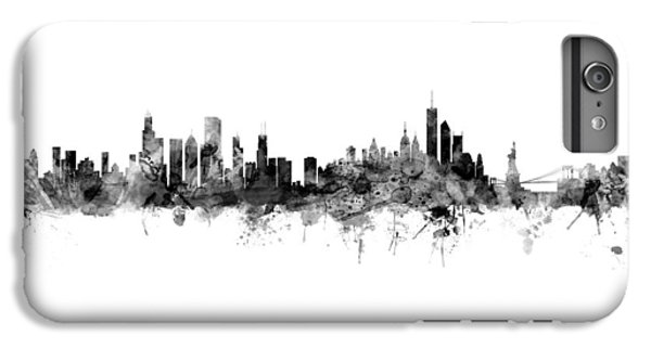 University Of Illinois iPhone 6s Plus Case - Chicago And New York City Skylines Mashup by Michael Tompsett