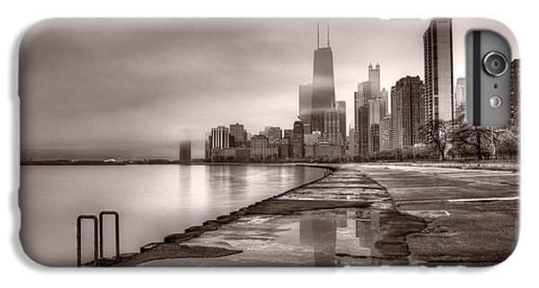 Hancock Building iPhone 6s Plus Case - Chicago Foggy Lakefront Bw by Steve Gadomski