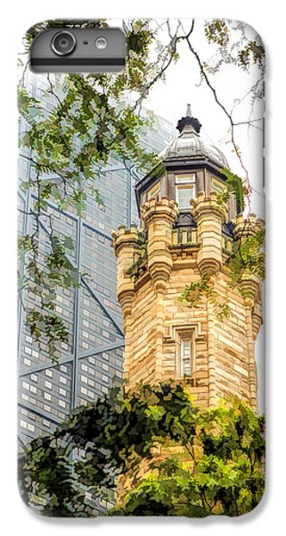 IPhone 6s Plus Case featuring the painting Chicago Historic Water Tower Fog by Christopher Arndt