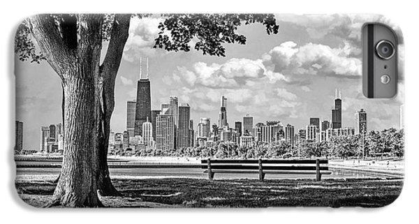 IPhone 6s Plus Case featuring the photograph Chicago North Skyline Park Black And White by Christopher Arndt