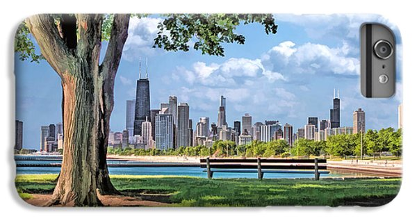 IPhone 6s Plus Case featuring the painting Chicago North Skyline Park by Christopher Arndt