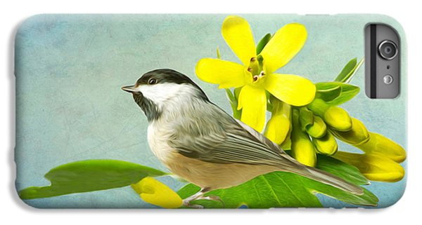 Chickadee iPhone 6s Plus Case - Chickadee And Flowers by Laura D Young