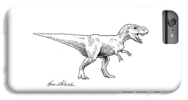 Tyrannosaurus Rex Dinosaur T-rex Ink Drawing Illustration IPhone 6s Plus Case by Karen Whitworth