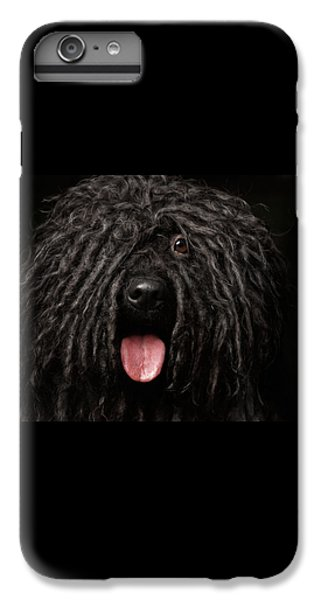 Dog iPhone 6s Plus Case - Close Up Portrait Of Puli Dog Isolated On Black by Sergey Taran