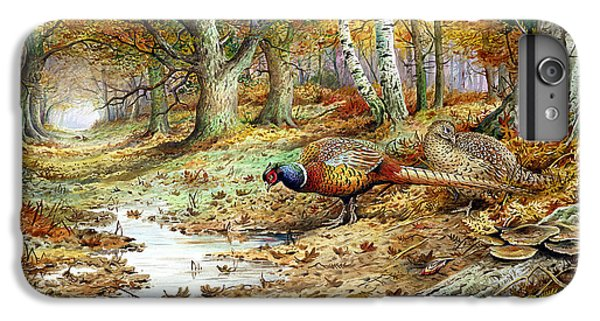 Pheasant iPhone 6s Plus Case - Cock Pheasant And Sulphur Tuft Fungi by Carl Donner