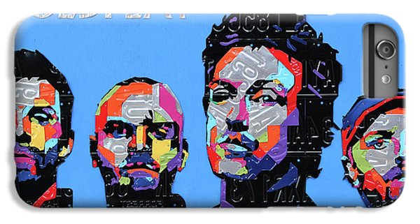 Coldplay iPhone 6s Plus Case - Coldplay Band Portrait Recycled License Plates Art On Blue Wood by Design Turnpike