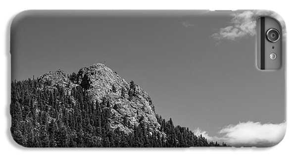 IPhone 6s Plus Case featuring the photograph Colorado Buffalo Rock With Waxing Crescent Moon In Bw by James BO Insogna