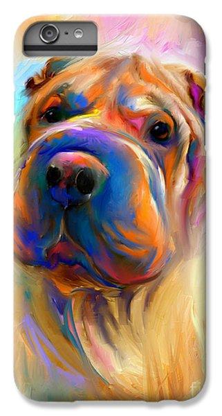 Colorful Shar Pei Dog Portrait Painting  IPhone 6s Plus Case by Svetlana Novikova